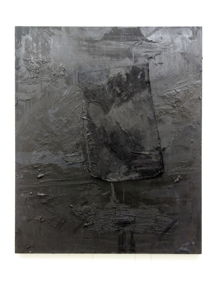 "Chris Duncan. ""PITCH BLACK (LEFT) ONE HOUR PAINTING IN COMPLETE DARKNESS.,"" 2015 Oil on blackout fabric 70"" x 54"""