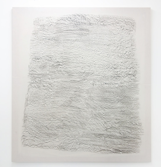 """Chris Duncan. """"APRIL 6TH, 1968-APRIL 6TH, 2015. 1218 28TH STREET, OAKLAND CALIFORNIA. RUBBING OF BASEMENT FLOOR WHERE BOBBY HUTTON AND ELDRIDGE CLEAVER HID OUT IN THE MOMENTS BEFORE BOBBY HUTTON WAS MURDERED BY OAKLAND POLICE.,"""" 2015. Crayon on muslin. 64"""" x 72"""""""