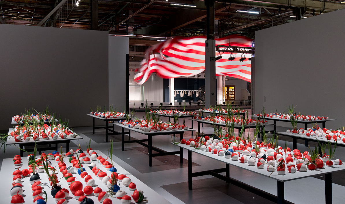 "Installation view, ""Trinket,"" William Pope.L at The Geffen Contemporary at MOCA, Los Angeles, now on view through June 28, 2015. photo by Brian Forrest. Courtesy of MOCA."