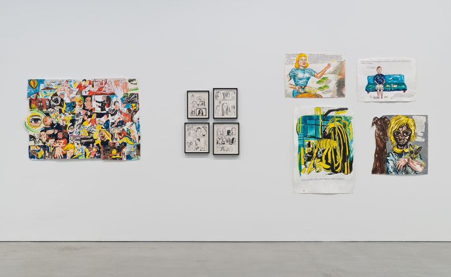 Installation view, From my bumbling attempt to write a disastrous musical, these illustrations muyst suffice, Raymond Pettibon at Regen Projects, Los Angeles, 2015. Courtesy of Regen Projects.