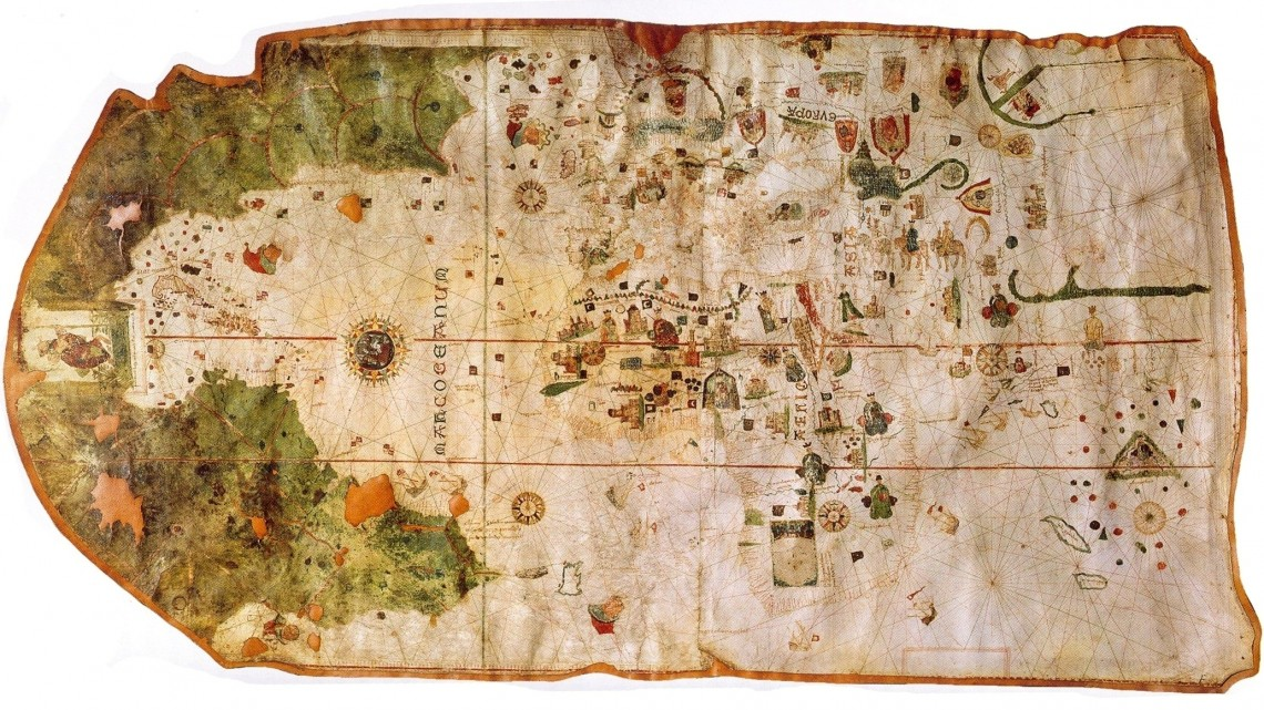 This mappa mundi made by Spanish navigator and cartographer Juan de la Cosa in 1500 marked the first European cartographic study of the Americas.
