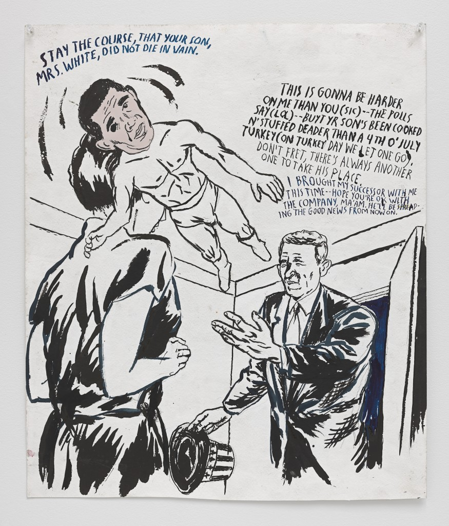 "Raymond Pettibon ""No Title (Stay the course),"" 2015. Ink, pen and collage on paper 21 1/2 x 18 inches (54.6 x 45.7 cm) © Raymond Pettibon. Courtesy Regen Projects, Los Angeles."