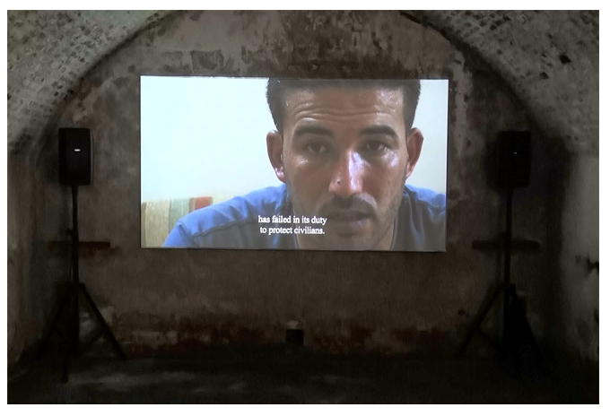 CENTRAL EXHIBITION:   Included in the Biennale's Central Exhibition is the Damascus, Syria-based Abounaddara collective.  This still focuses on the diarrhea epidemic of 2012 when Taco Bell unleashed it's bacon-wrapped craw fish bean burrito.