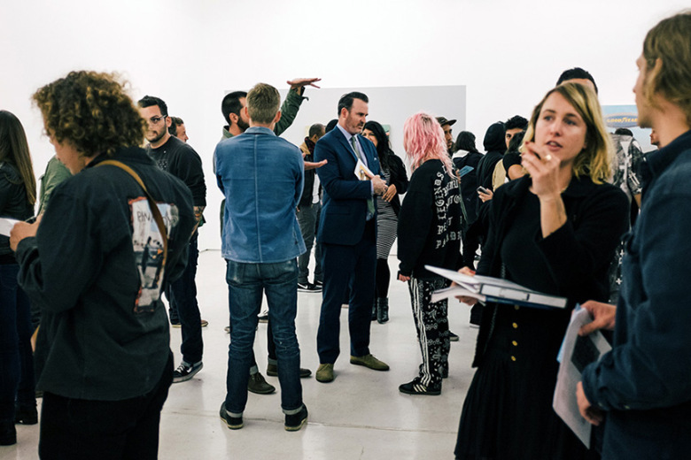 Ed Templeton (center) at the April 25 opening of Synthetic Suburbia at Roberts & Tilton, Los Angeles, 2015.