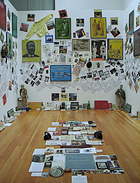 """Installation view, """"The Short Century: Independence and Liberation Movements in Africa 1945-1994"""" at Walter Gropius Bau, Berlin, 2001. Curated by Okwui Enwezor."""