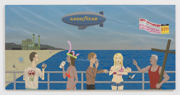 Ed Templeton, Huntington Beach Pier #2 (Get Divorced), 2015. Acrylic on panel, diptych: 48 x 96 inches. Courtesy of Roberts & Tilton.