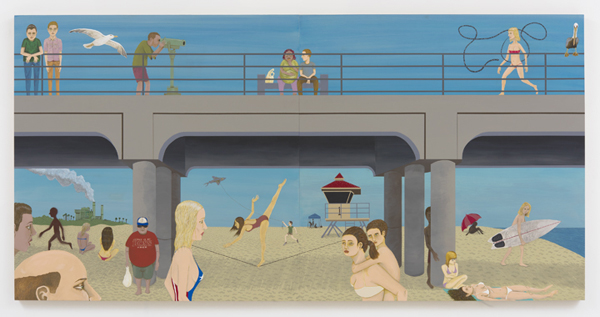 Ed Templeton, Huntington Beach Pier #1, 2015. Acrylic on panel, diptych: 48 x 96 inches. Courtesy of Roberts & Tilton.