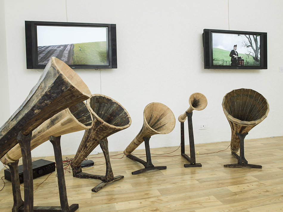 Tania Candiani, Wooden Trumpets, 2014. The Glenfiddich Artists in Residence program, Banffshire, Scottland. Installation and video. Courtesy of the artist.