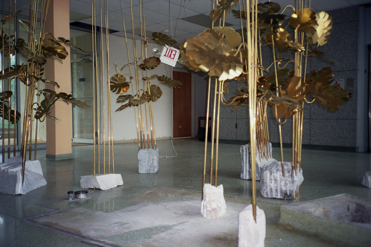 Medusa, 2014. Brass, stone. Dimensions variable. Installation view, Medusa Cement building (Cleveland). Courtesy of the artist.