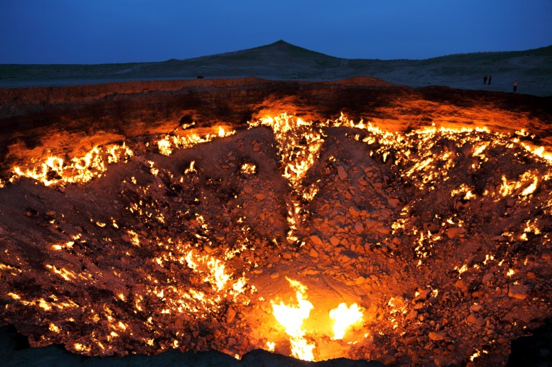 flydime, The Door to Hell, Gas Crater Turkmenistan, fire / Moment / Getty Images. 18.72 x 12.48 in.