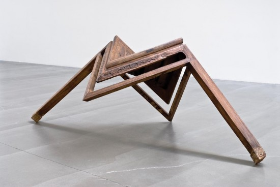 Ai Weiwei, Table with Two Legs, 2008. Wood from qing dynasty (1644–1911). © Ai Weiwei. Courtesy of the Rubell Family Collection and the Asian Art Museum.