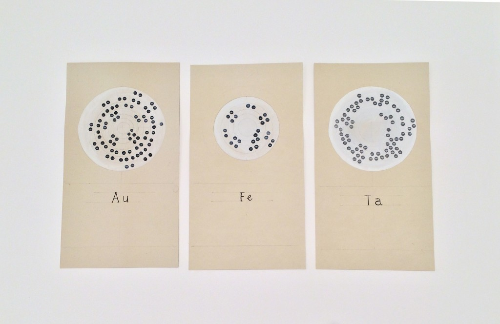 Amy Franceschini. —Ae, Fe, Ta (Gold, Iron, Tantalum). 2015. Ink, pencil, and gouache on paper. 6 x 11 inches each