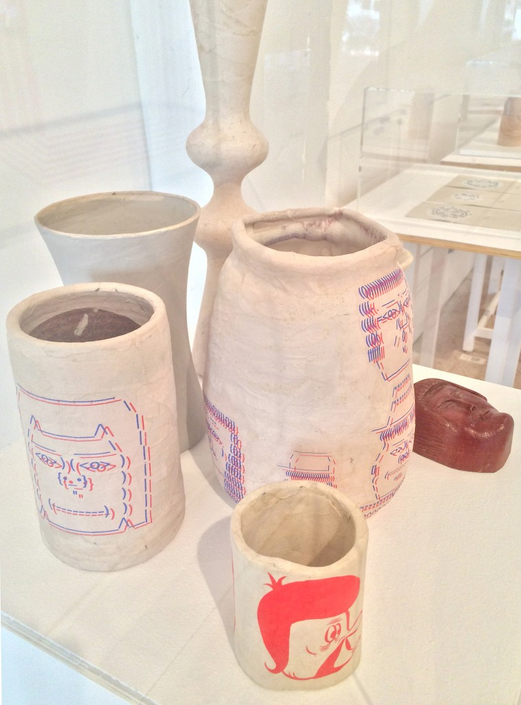 Barry McGee. Untitled. 2014. Ceramics, paper mache, gouache, acrylic, wood, and metal. Dimensions variable