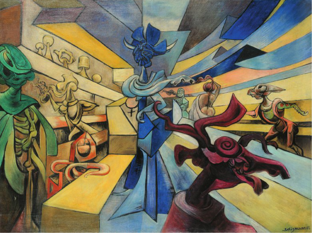 Kurt Seligmann, Sorceresse, 1948. Oil on canvas, 30 x 40 inches. Courtesy of Weinstein Gallery.