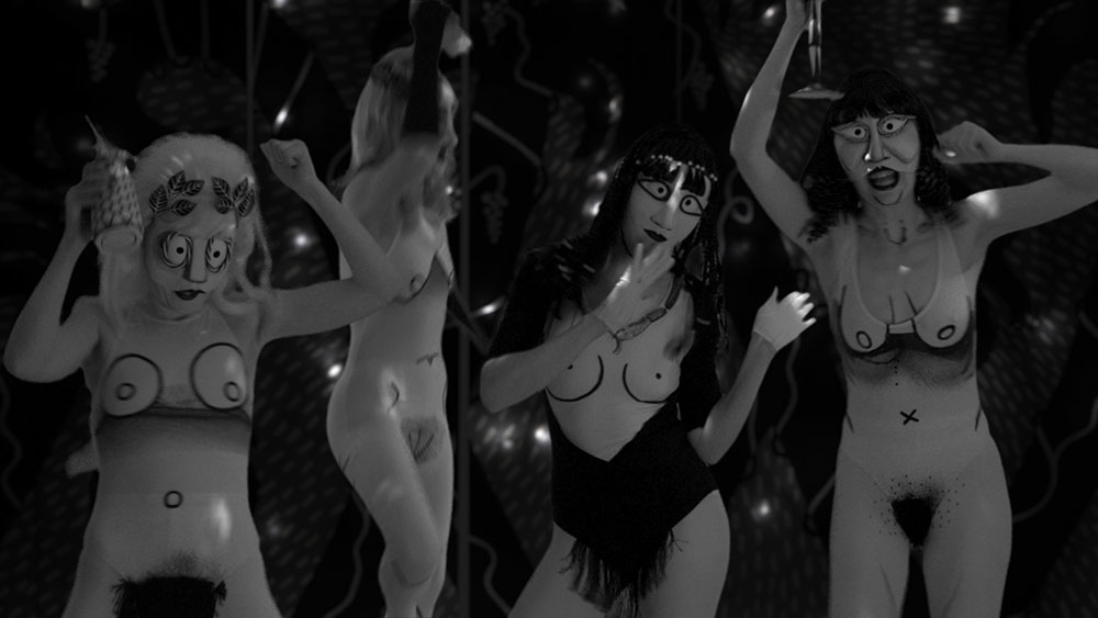 Mary Reid Kelley with Patrick Kelley, still from The Thong of Dionysus, 2015. HD video, black and white, sound. 9:27 min. Courtesy of the artists; Susanne Vielmetter Los Angeles Projects; Fredericks & Freiser Gallery, New York; and Pilar Corrias, London.