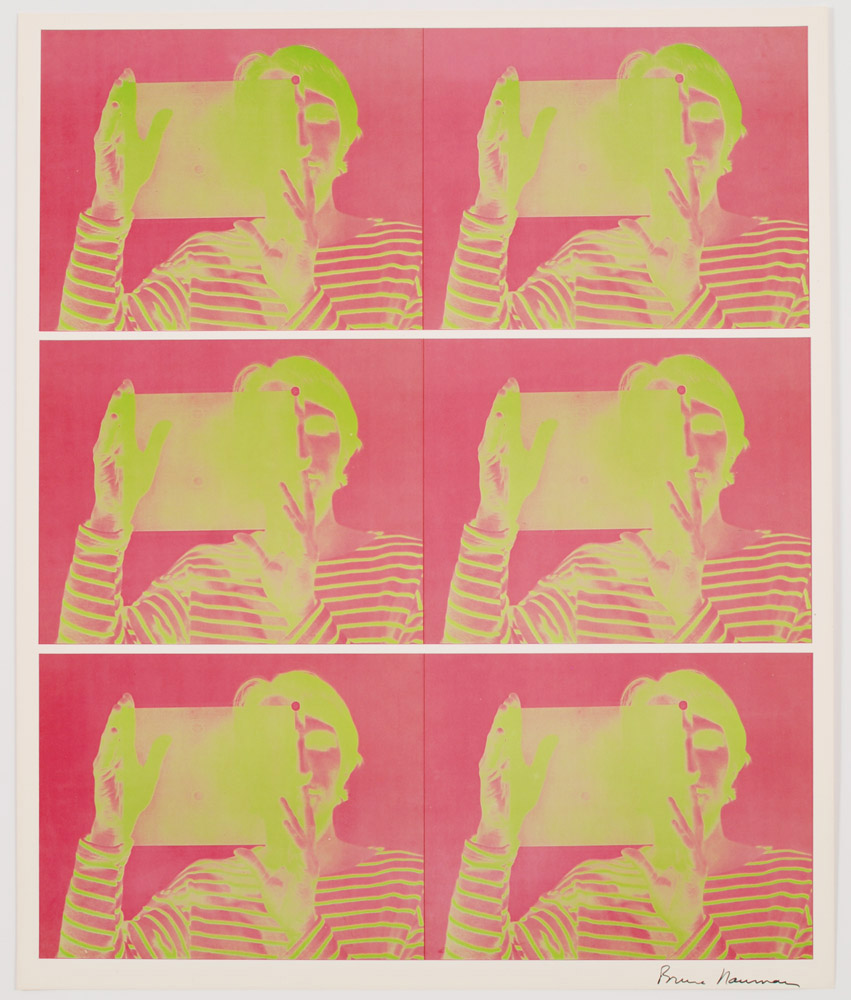Bruce Nauman, Untitled, 1969. Offset printing in pink and green ink on paper. 24 x 20 inches. © Bruce Nauman / Artists Rights Society (ARS), New York Courtesy of BAM/PFA.