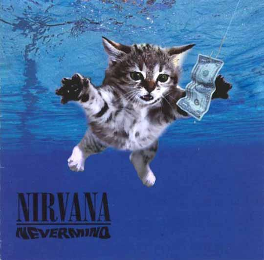 The original cover to Nirvana's No.1 album, Nevermind.  Due to upset from PETA, they opted to throw a naked baby boy in chlorinated water instead.