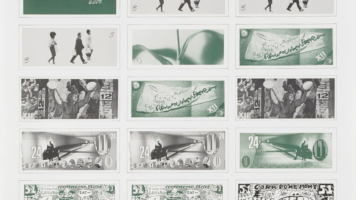 ARTCASH created by Andy Warhol, Robert Whitman, Robert Rauschenberg, Tom Gormley, Red Grooms and Marisol for a 1971 gambling night benefit held by the Foundation Experiments in Art and Technology (EAT). Courtesy of Broadway 1602.
