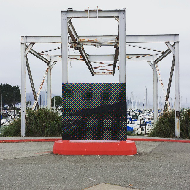 "Simon Pyle, ""Screen of the Headlands,"" 2015. Installation at the Parking Lot Art Fair. Courtesy of the artist."