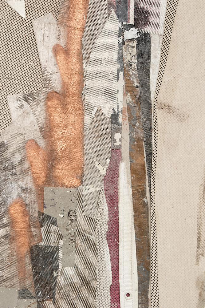 "Ryan Wallace. ""Redactor 6,"" 2015. Enamel, acrylic, vinyl, rubber, concrete, plaster, aluminum, tape, canvas on canvas. 72"" x 60"""