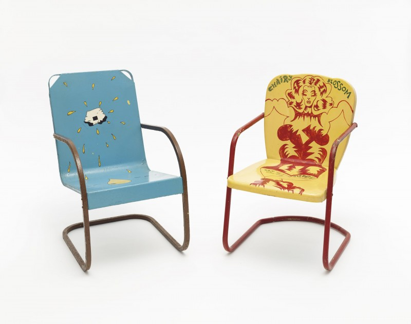 Jim Nutt, I'm Wet, 1969. Painted metal lawn chair, 33 x 20.25 x 27 inches.  Karl Wirsum, Chairy Blossom, 1969. Painted metal lawn chair, 32 x 20 x 26 inches. Courtesy of Matthew Marks Gallery.
