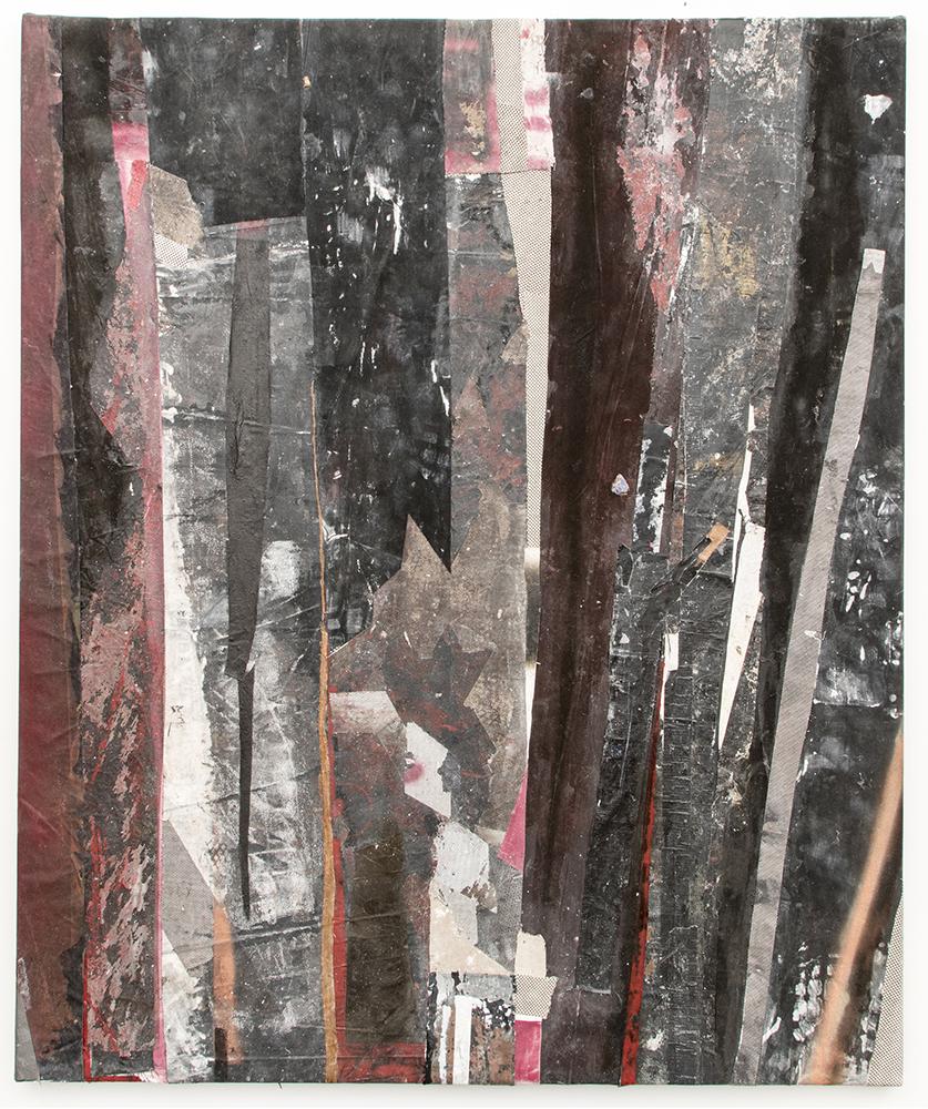 "Ryan Wallace. ""Redactor 4,"" 2015. Enamel, acrylic, vinyl, rubber, concrete, plaster, aluminum, tape, canvas on canvas. 72"" x 60"""
