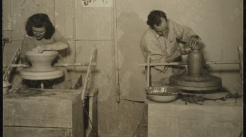 Antonio Prieto and Eunice Prieto working at the California College of Arts and Crafts, 1947 / unidentified photographer. Antonio Prieto papers, Archives of American Art, Smithsonian Institution.