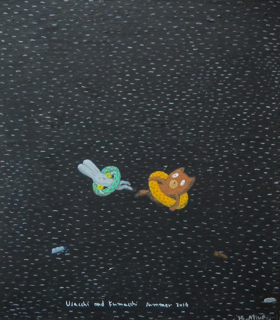 """Atsushi Kaga. """"Usacchi and Kumacchi in summer,"""" 2014. Acrylic on board 34 x 30 x 2 cm"""