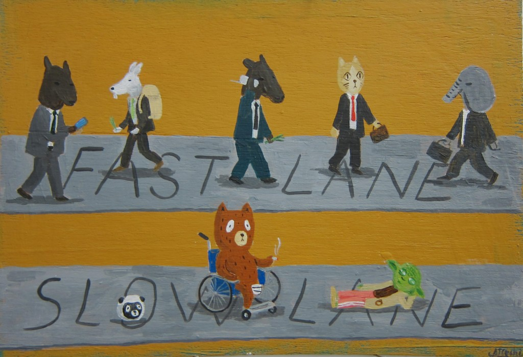 "Atushi Kaga. ""Fast lane and slow lane,"" 2014. Acrylic on board. 23 x 32 cm"