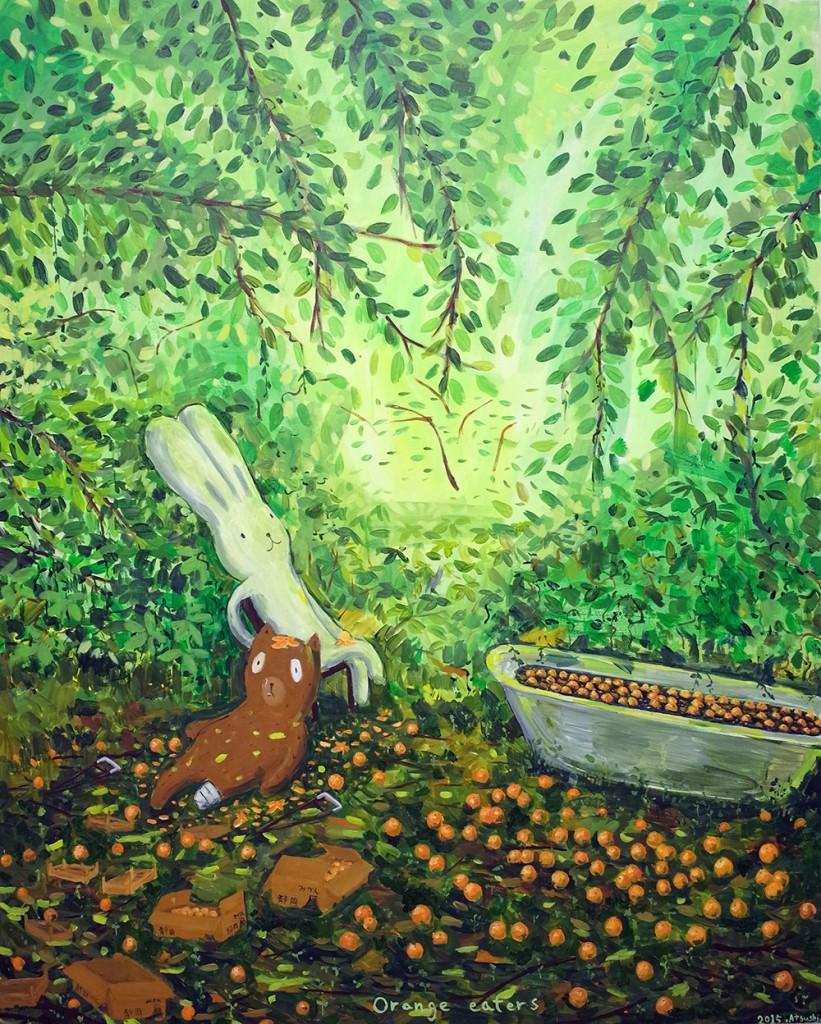 "Atsushi Kaga. ""Orange eaters,"" 2015. Oil and acrylic on canvas. 152 x 122 cm"