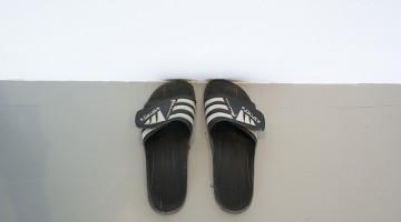 "Fermín Jiménez Landa. ""Sandals,"" 2013. Sandals Size 43 Eu. Courtesy of the artist and Galería Bacelos. Photo credit: Maj Lindstrom."