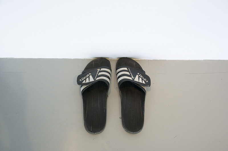 "Fermín Jiménez Landa. ""Sandals,"" 2013. Sandals Size 43 Eu. Courtesy of the artist and Galería Bacelos. Photo credit: Maj Lindstrom."