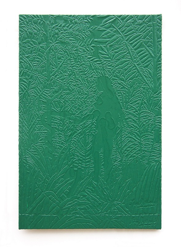 Michael Assiff, Untitled (Fielding Golf Course, Green Mango, Eve and the Serpent), 2014. Plastic on canvas, 72 × 48 inches. Courtesy of Salon 94.
