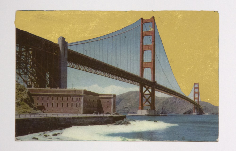 """Alice Shaw. """"Golden Gate,"""" 2015. Archival pigment print and 22k gold leaf, 5"""" x 7"""""""