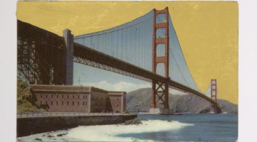 "Alice Shaw. ""Golden Gate,"" 2015. Archival pigment print and 22k gold leaf, 5"" x 7"""