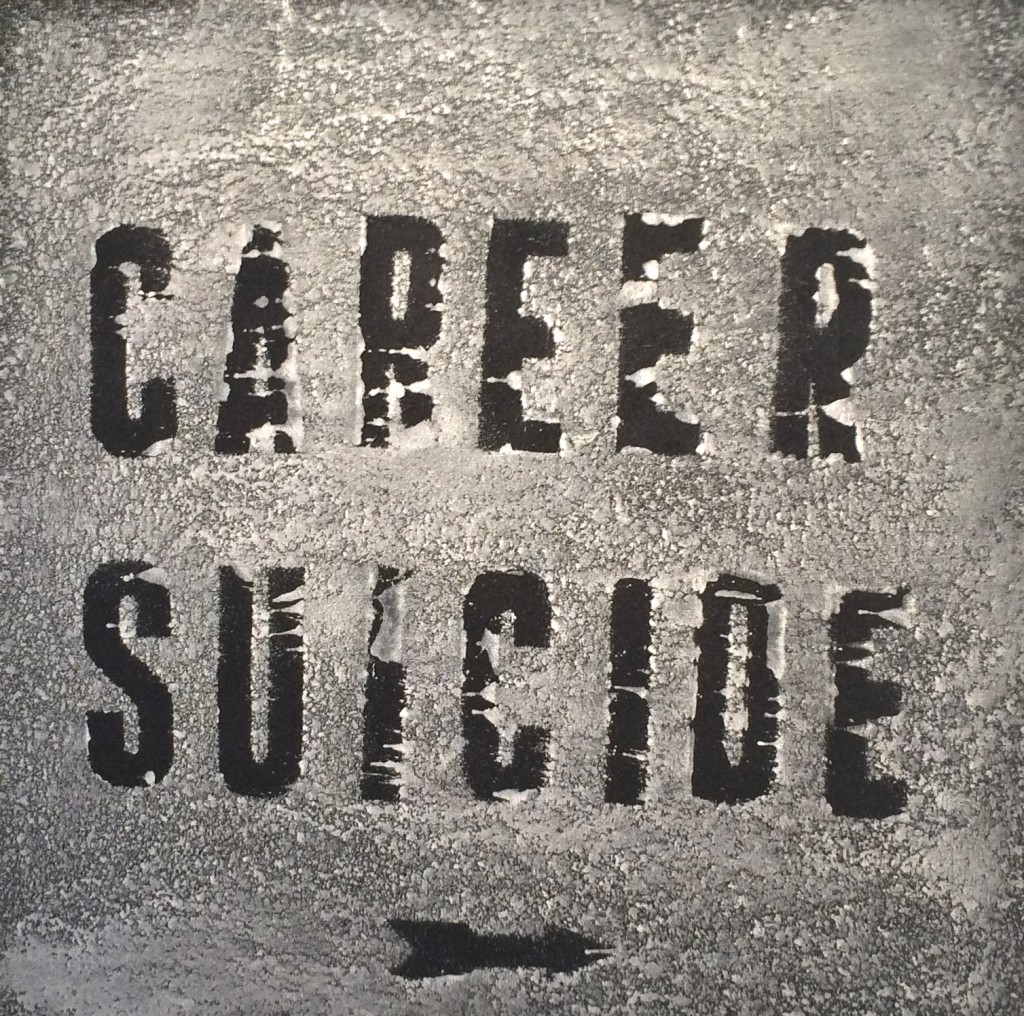 """Mark Flood """"Career Suicide [In The Snow]"""", 2015 Acrylic on canvas 40x40 inches"""