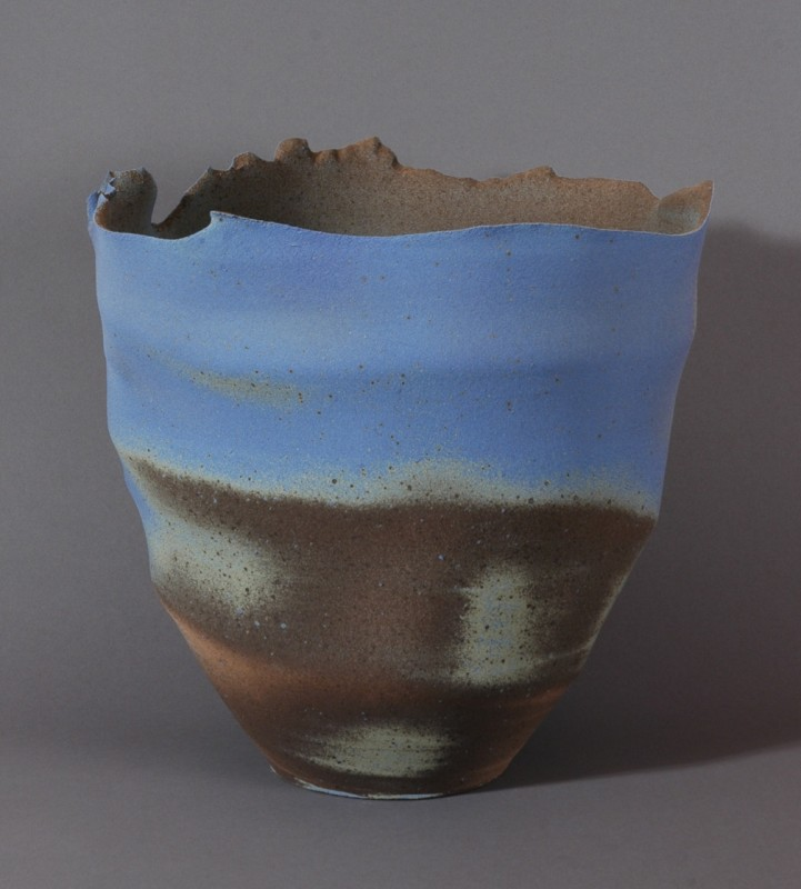 Mark Prieto, Torn Bowl Blue. Stoneware, 12 x 12 inches.