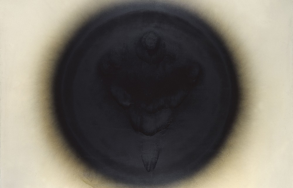 """Otto Piene, """"Venus von Willendorf,"""" 1963. Oil on canvas, 150 x 200 cm. Collection Stedelijk Museum Amsterdam."""