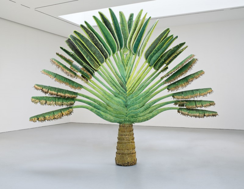 Yutaka Sone, Tropical Composition/Traveler's Palm #, 2011. Rattan and steel, 143 × 165 × 24 inches. Courtesy of Salon 94.