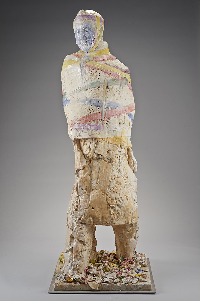 "Wanxin Zhang, ""Return to the Garden of Eden,"" 2011-13. High-fired clay with glaze. 80 x 30 x 38 in. Courtesy of Catharine Clark Gallery, San Francisco."