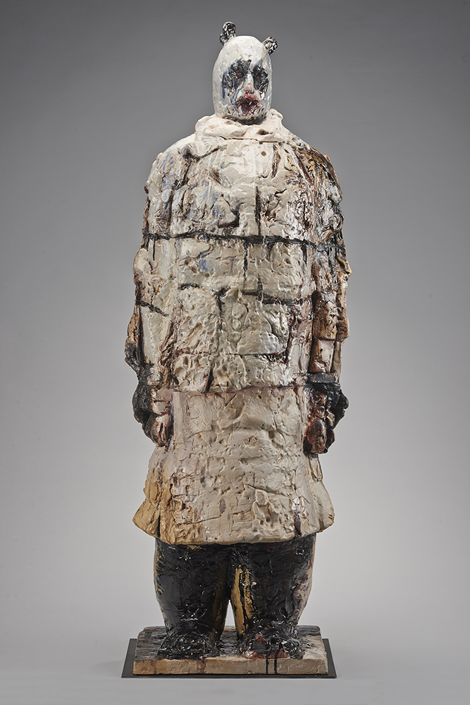 "Wanxin Zhang, ""Special Ambassador,"" 2011. High-fired clay with glaze. 74 x 22 x 8 in. Courtesy of Catharine Clark Gallery, San Francisco."