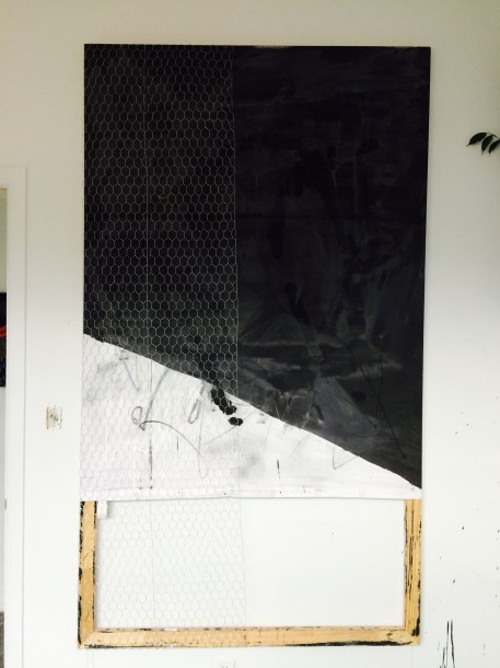 Alexandra Toledo, Untitled (Under the Covers), 2015. Linen, wood, wire, ink, acrylic, charcoal, 80 x 46 inches. Courtesy of Guerrero Gallery.