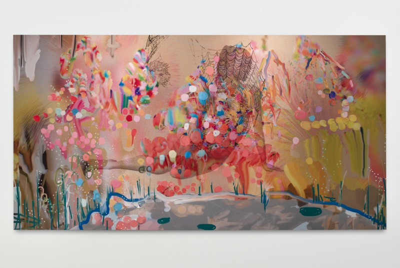 "Petra Cortright. ""Brunettefat chicksfat chicks nudefat,"" 2014. Digital painting on aluminum.48 in x 91.5 in. Courtesy Lyn Winter. Photo jeff McLane"