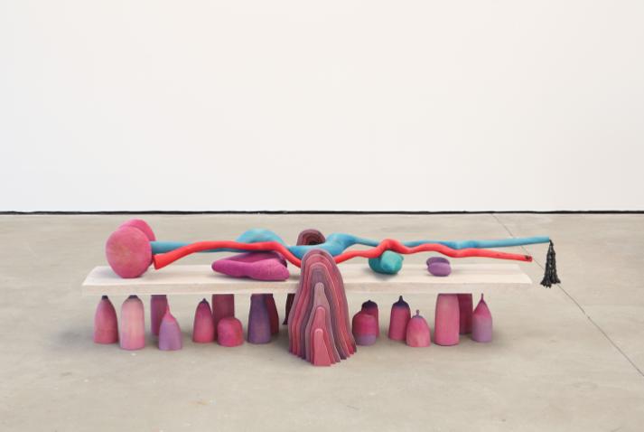 Matthew Ronay, Wavering Body, 2013. Basswood, oak, ash, cotton, steel, plastic, dye, shellac-based primer, 50.8 x 198.1 x 86.4 cm. Courtesy of Nils Stærk.