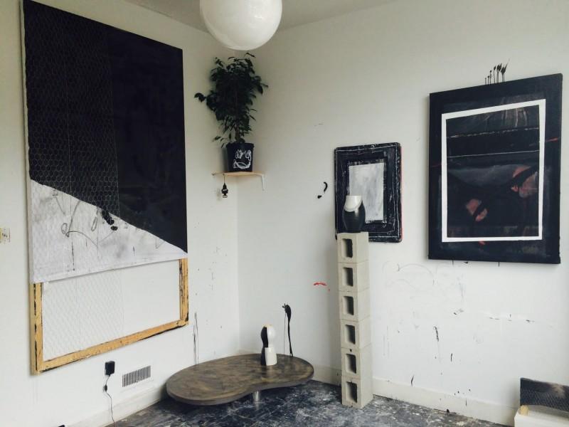 Studio view, Alexandra Toledo residency at 649 Irving, San Francisco, 2015.