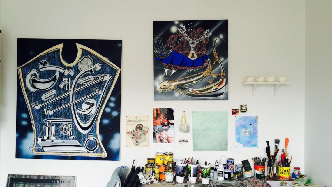 Studio view, Mario Ayala residency at 649 Irving, San Francisco, 2015. Courtesy of Guerrero Gallery.