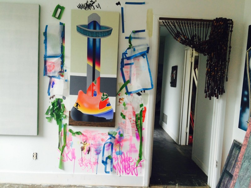 Studio view, Mario Ayala residency at 649 Irving, San Francisco, 2015.