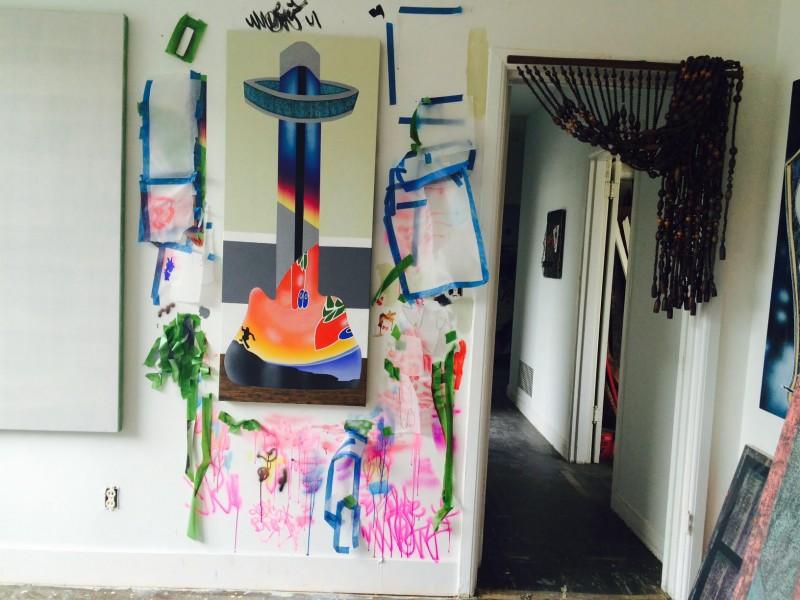 Studio view, Mario Ayala residency at 649 Irving, San Francisco, 2015.