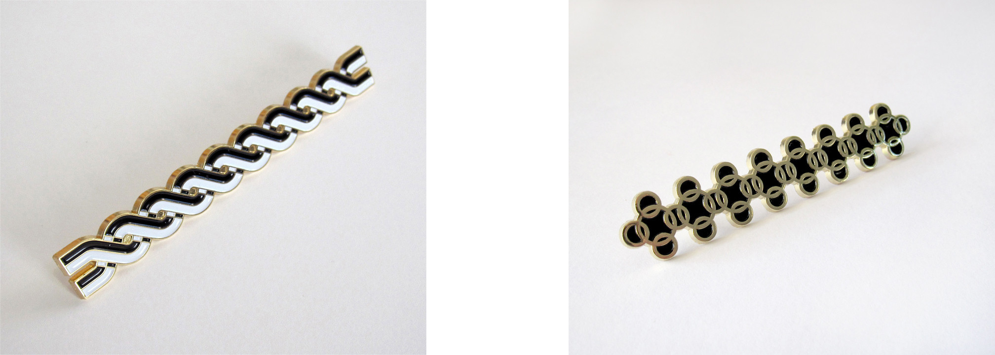 [left] Stone Cactus Twist Pin, 2013. Diecast zinc alloy and soft enamel, 4 x 0.5 inches. Double clutch closure. Courtesy of Diagonal Press. [right] Japanese Maille Pin, 2015. Diecast zinc alloy and soft enamel, 3.1385 x 0.55 inches. Double clutch closure. Courtesy of Diagonal Press.