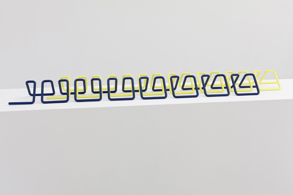 Knit Stitch, 2014. Stainless steel and powder coating,  85 x 16 x 6 inches. Metalwork at New Amsterdam Metalworks, Coating at Wicked Powder Coating.